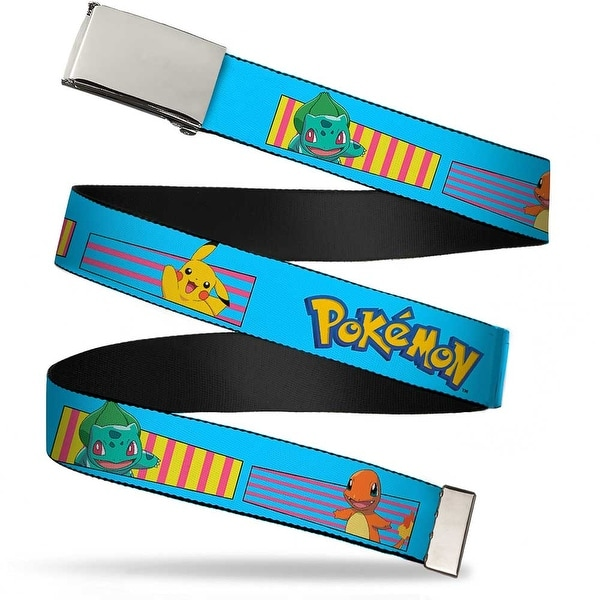 Blank Chrome Buckle Pok�mon Kanto Starter Pok�mon & Pikachu Stripe Web Belt