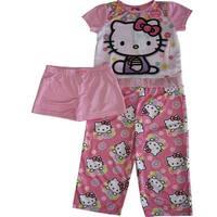 Sanrio Girls Pink Hello Kitty Floral Print Shorts 3 Pc Sleepwear Set