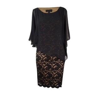Connected Women's Plus Size Lace Cold-Shoulder Cape Dress
