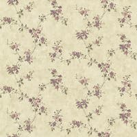 Brewster CTR64194 Rose Valley Violet Floral Trail Wallpaper - violet floral