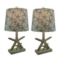Star of the Sea Starfish Table Lamp w/Printed Fabric Shade Set of 2