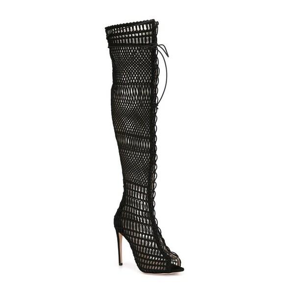 Giambattista Valli Open Toe Lace-up Knee High Black Boots Size 36 / 6