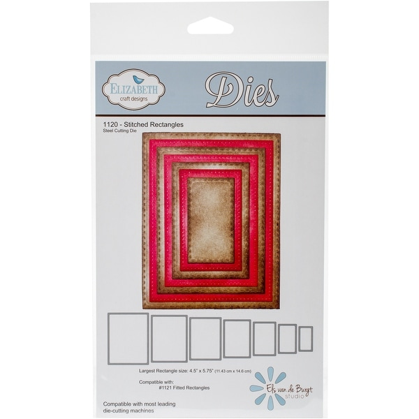 "Elizabeth Craft Metal Die-Stitched Rectangles, 4.5""X5.75"" Largest"