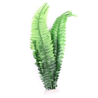 "Unique Bargains Ceramic Base 15.7"" High Emulational Plant Grass Green for Aquarium"