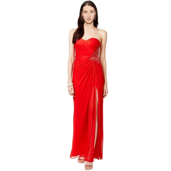 Shop Xscape Illusion Side Embellished Strapless Evening Gown Dress ...