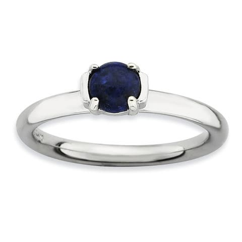 Sterling Silver Stackable Polished Blue Lapis Ring by Versil