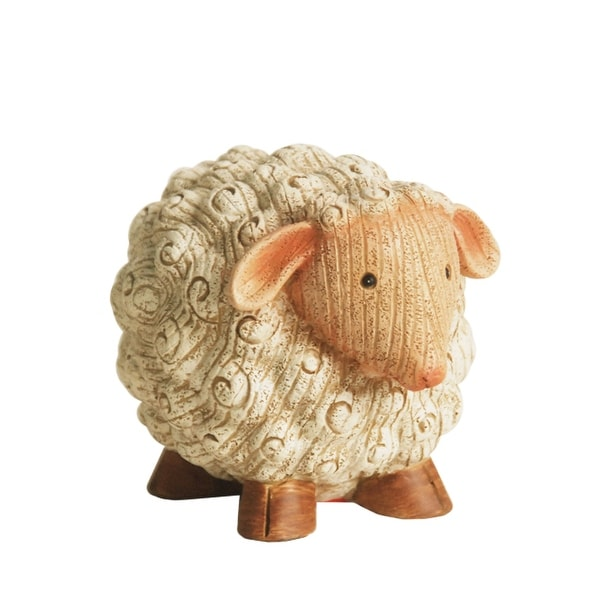 """7"""" Grooved White Roly-Poly Stone Sheep Indoor/Outdoor Statue Decoration"""