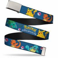 Blank Chrome  Buckle Pokemon Kanto Starters Gotta Catch 'Em All Blue Web Belt - S