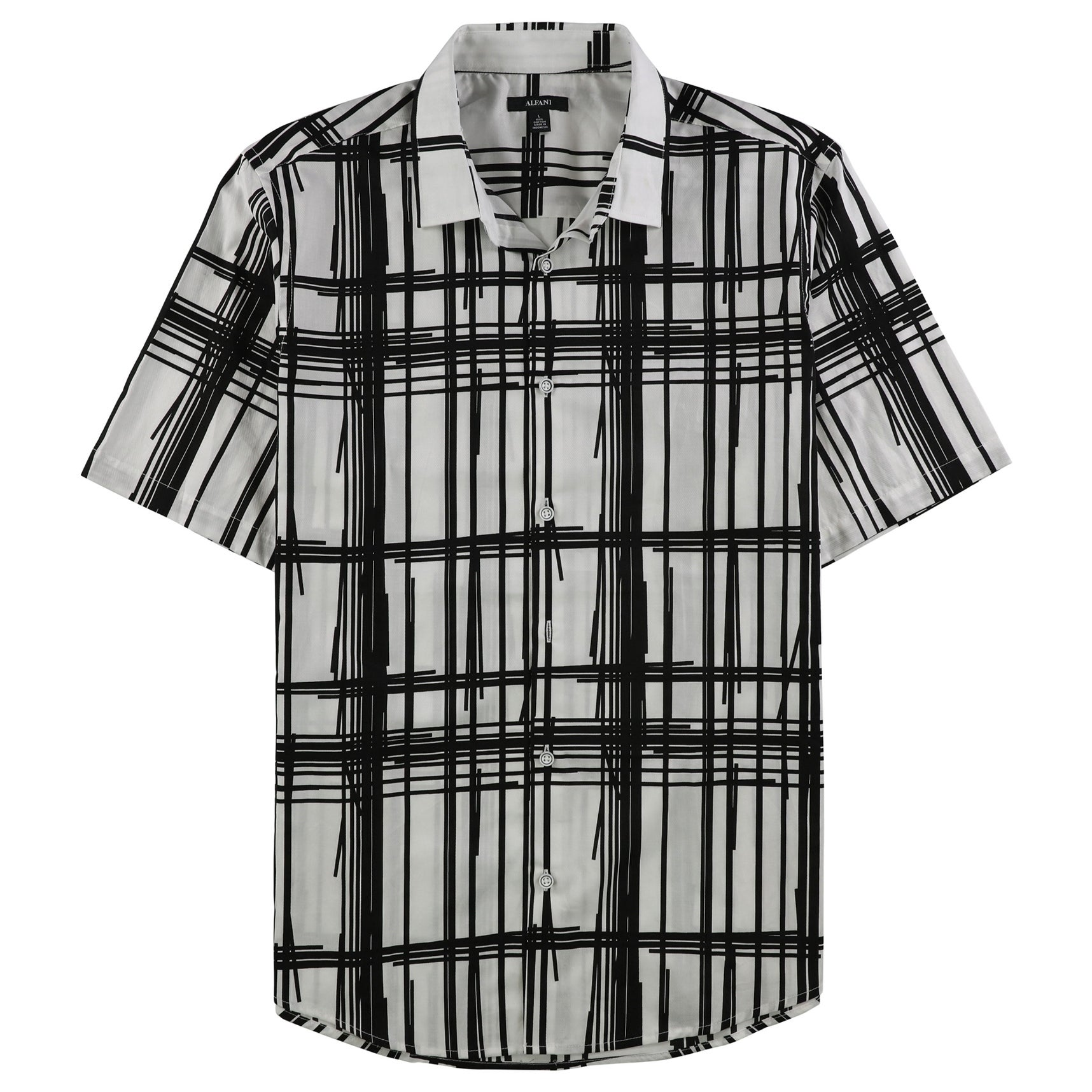 Alfani Mens Small Broken Striped Button Down Shirt