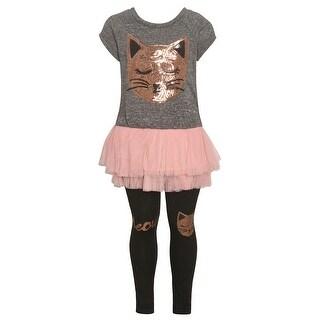 Little Girls Gray Gold Sparkle Sequin Cat Applique 2 Pc Legging Outfit