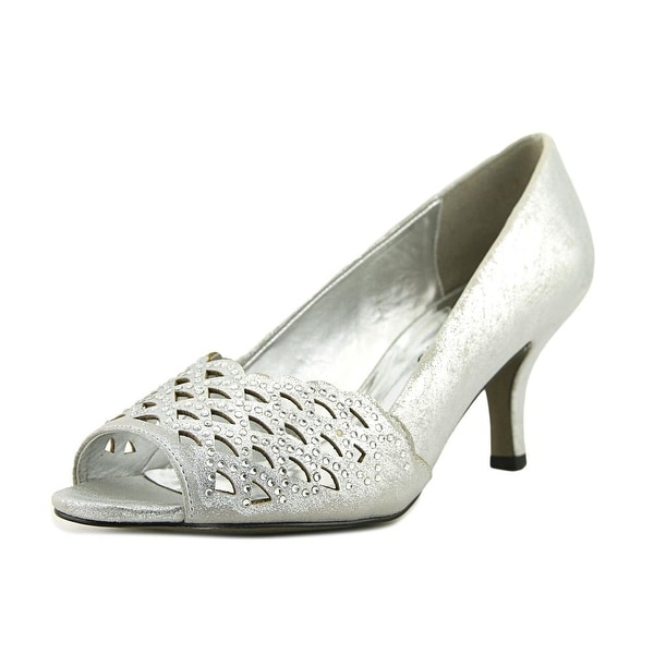 Easy Street Royal Women W Peep-Toe Synthetic Silver Heels