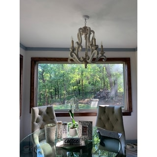 Antique White 5-light Wood Candle Chandelier