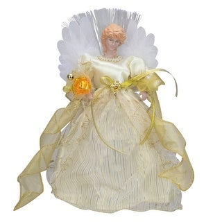 """12"""" Ivory and Gold Lighted Angel Christmas Tree Topper"""