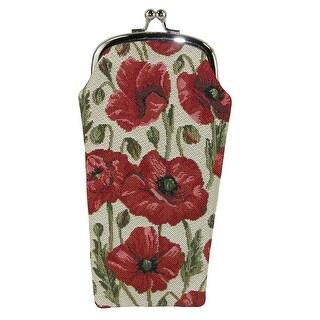 CTM® Women's Poppy Print Tapestry Glasses Case - one size