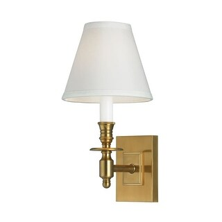 "Norwell Lighting 5120 Weston Single Light 13"" Tall Wall Sconce with White Fabric Shade - aged brass with white shade"