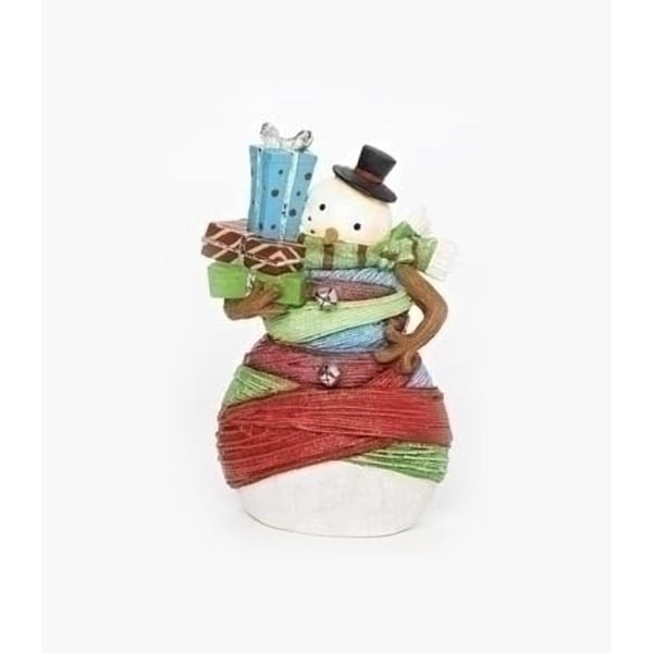 """7"""" Vibrant Colorful Striped Yarn Wrapped Snowman with Gifts Christmas Figure"""