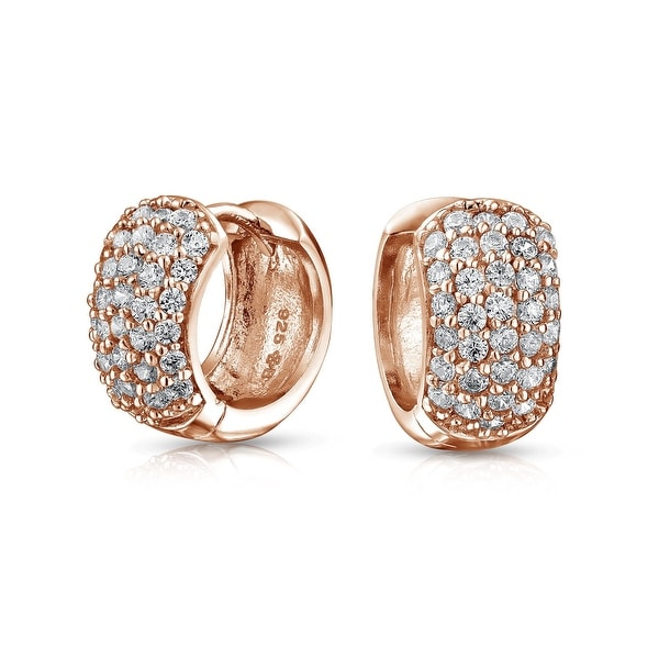 578ee805ccd 5 Five Row Pave Cubic Zirconia Wide Huggie Hoop Earrings For Women Rose  Gold Plated 925 Sterling Silver