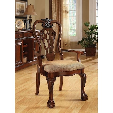 Pack of 2 Fabric Dining Arm Chair in Cherry and Beige