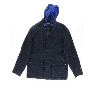 Tommy Hilfiger Mens Twill Hideaway Hood Coat - L