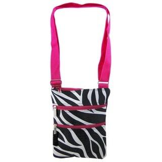 Zebra Print Adjustable Nylon Shoulder Bag Hot Pink Trim