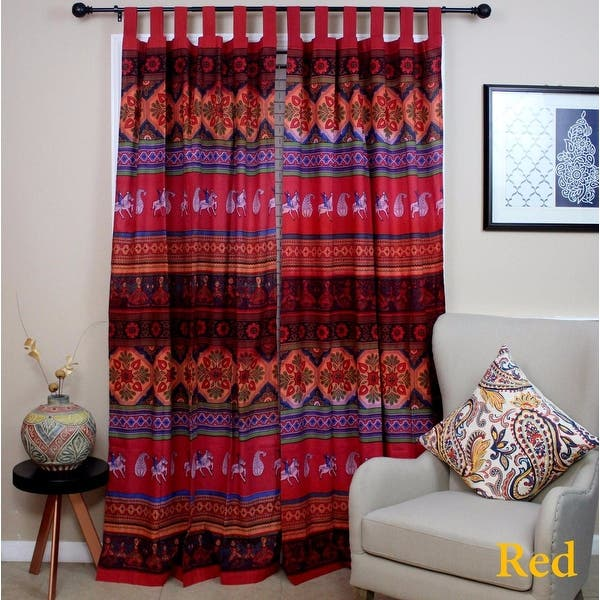 Shop Curtains for Living Room, Cotton Kalamkari Floral Tie ...