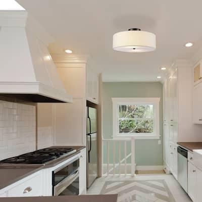 2-Light Dark Bronze Flush Mount Ceiling Light, White Linen Shade - 15.9