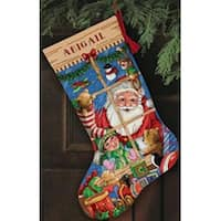 "Gold Collection Santa's Toys Stocking Counted Cross Stitch K-16"" Long"