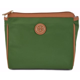 Tory Burch Lettuce Green Dena Nylon Zip Top Cosmetic Makeup Bag