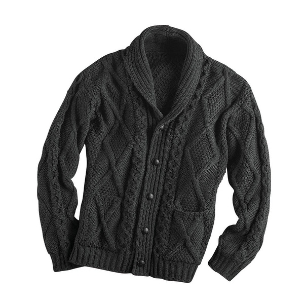 Men's Aran Shawl Collar Cable Knit Cardigan Sweater - Free ...