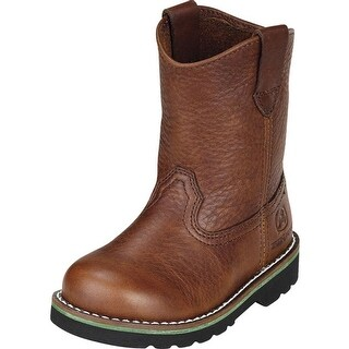 John Deere Western Boots Boys Wellington Round Toe Walnut