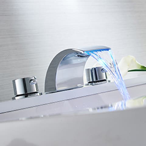 Chrome 3 Hole Waterfall Bathroom Faucet