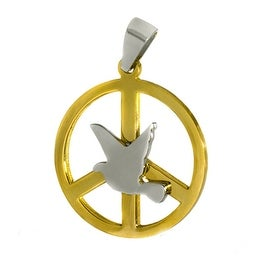 Stainless Steel Dove Peace Disc Pendant - 18 inches