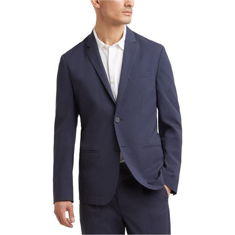 Kenneth Cole Mens Seersucker Two Button Blazer Jacket