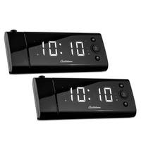 Electrohome USB Charging Alarm Clock Radio for Smartphones with Time Projection, Battery Backup, Auto Time Set - 2 PACK