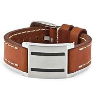 Chisel Stainless Steel Brown Leather with Carbon Fiber Buckle Bracelet