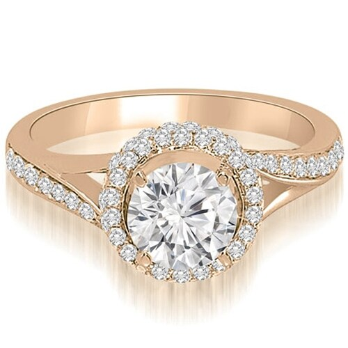 1.50 cttw. 14K Rose Gold Double Halo Round Cut Diamond Engagement Ring