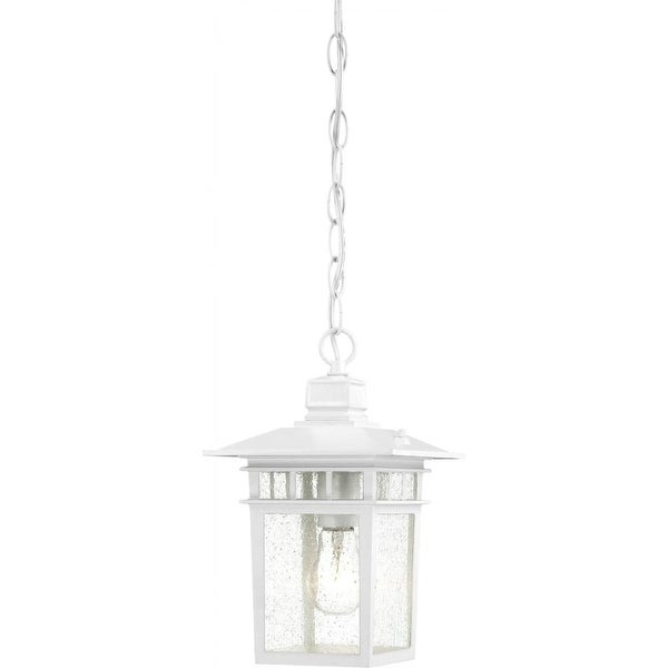 """Nuvo Lighting 60/4954 Cove Neck 1-Light 7"""" Wide Outdoor Mini Pendant with Seedy Glass Shade - White - N/A"""