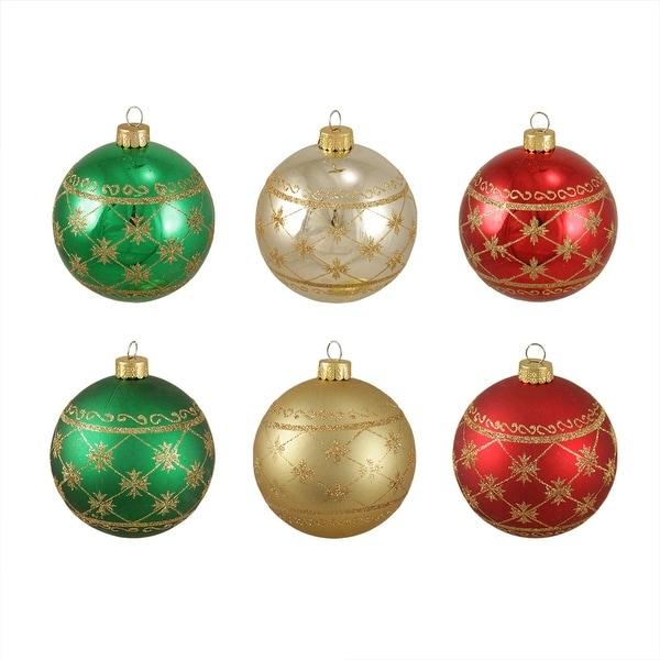 "6ct Glittered Snowflake Burst Shatterproof Christmas Ball Ornaments 3.25"" (80mm)"