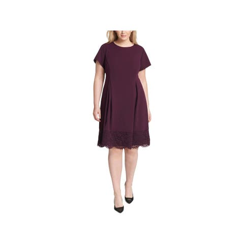 Jessica Howard Womens Plus Wear to Work Dress Pleated Lace Hem