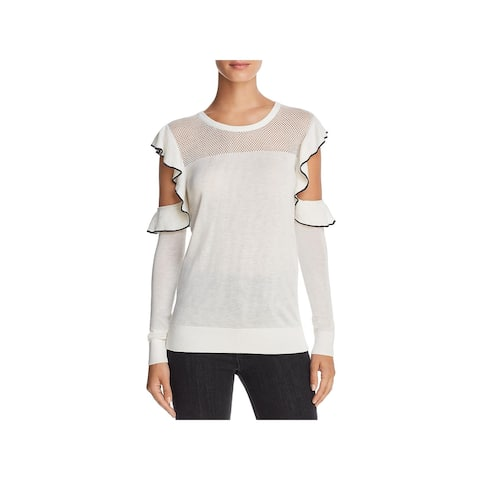 French Connection Womens Lois Blouse Cold Shoulder Ruffled