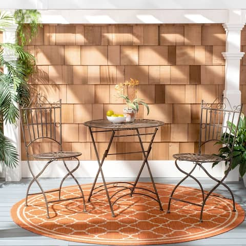 """Safavieh Outdoor Living Belen Bistro Set, One Table And Two Chairs - TABLE:27.5""""x27.5""""x28.75"""" CHAIR: 17""""x19""""x38.25"""""""
