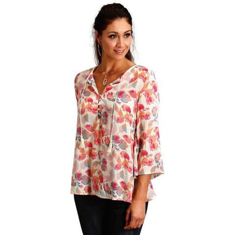 Stetson Western Shirt Womens 3/4 Sleeve Print Pink