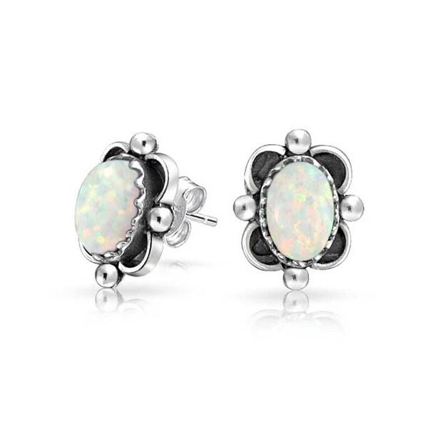 Bling Jewelry Bali Style Oval Imitation Opal October Birthstone Stud Earrings 925 Sterling Silver 10mm