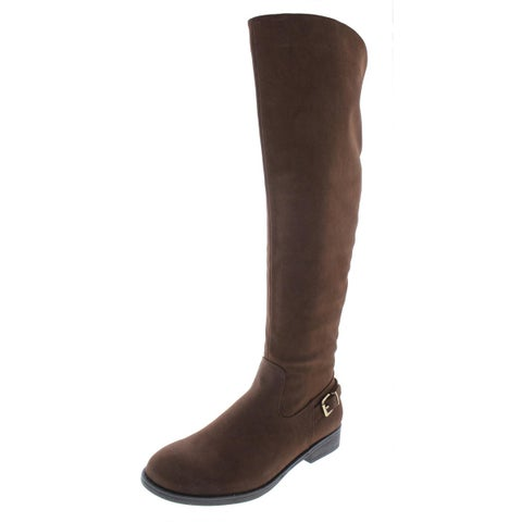 Steve Madden Womens Rhalie Dress Boots Knee-High Faux Leather