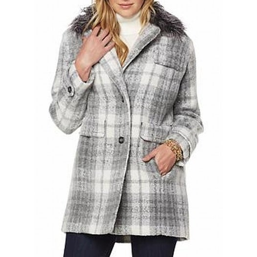 28929f21939 Shop Jones New York NEW Gray Womens Size 1X Plus Plaid Faux-Fur Trim ...