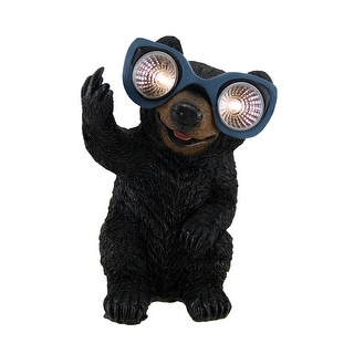 Naughty Bear Solar Eyes LED Light Statue - 8.5 X 5.5 X 5 inches