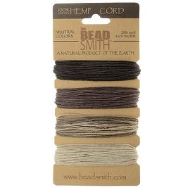 Beadsmith Natural Hemp Twine Bead Cord 1mm Four Color Variety 30 Feet Each