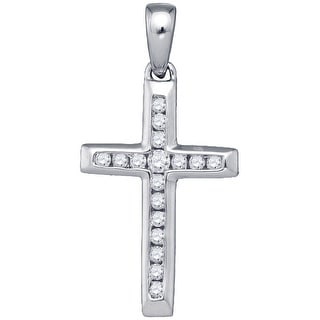 Cross Pendant Small 10k White Gold With Diamonds 0.125Ctw By MidwestJewellery