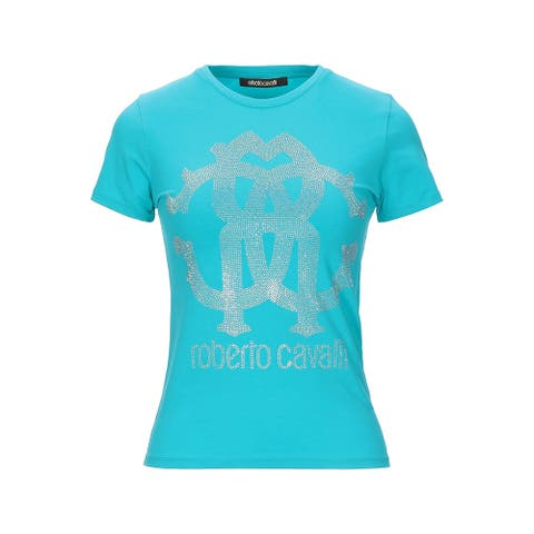 Roberto Cavalli Women's Cotton Studded Logo T-Shirt Light Blue