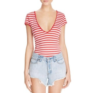 Free People Womens T-Shirt Striped Cap Sleeves